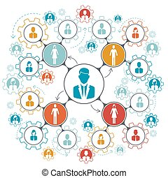 Business people team work managment structure vector illustration