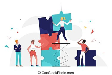 Business people team work with puzzle concept, solving problem of jigsaw connection