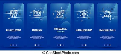 Business people, Teamwork, Professional training, Human resources, Leadership skills Vertical Cards with strong metaphors.