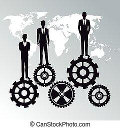 business people teamwork workforce staff gear