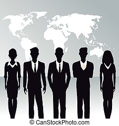 business people teamwork world map background