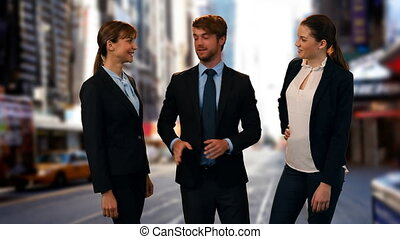 Business people telling stories on the street