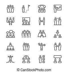 Business people thin icons