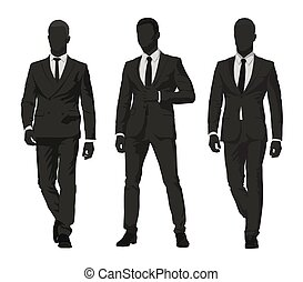 Business people. Three men in dark suits, isolated vector silhouettes. Group of abstract businessmen