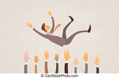 Business People Throw Businessman In Air Success Concept