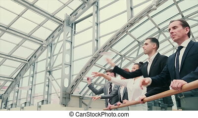 Business people throwing paper planes - Team of business ...
