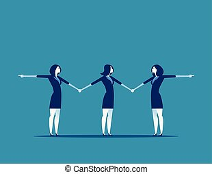 Business people tugging a man. Concept businesss vector illustration.