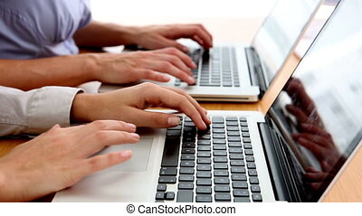 Business people typing on their laptops on their desk