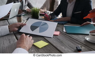 International team of business people use diagrams at meeting for better explaining, thinking, building business strategy. People wearing formal wear sit around desk