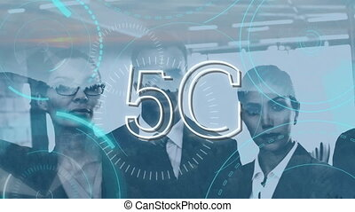 Business people using 5G