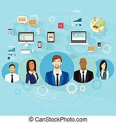 Business People Using Electronic Computer Digital Device...