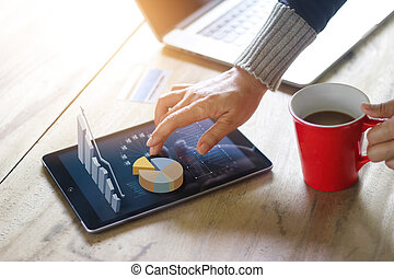 Business people using laptop and tablet of technology e-comerce internet global network connection marketing purchasing and business statistic growth graph, business success concept