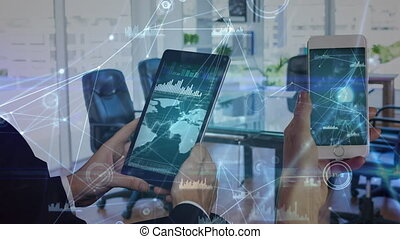 Business people using their smartphone in the office with digital data animation on the foreground