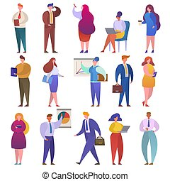 Business people vector businessmen character professional people work and workers show presentation illustration set of abstract woman man working isolated on white background