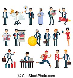 Business people vector businessmen character professional people work in teamwork illustration set of executive woman or man meeting with workers isolated on white background