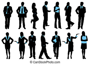 Business People - illustration of set of silhouette of...