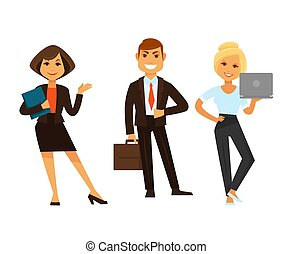 Business people vector icons of manager clerk and director