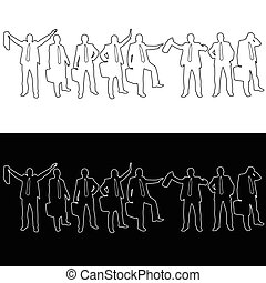 business people vector silhouette
