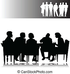 business people vector silhouettes