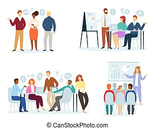 Business people vector team professional men women characters work in office and businessmen working in teamwork together or meeting with workers isolated on white background illustration