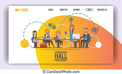Business people vector web page team of professional people work in office and businessmen working in teamwork together or meeting with workers characters background illustration web-site