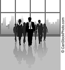 Business people walk city building windows - Business...