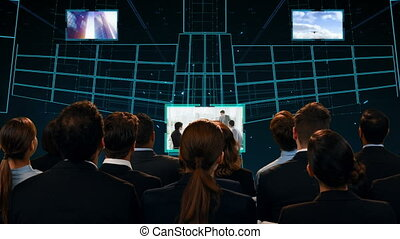Business people watching a digital stage