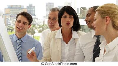 Business people watching woman writ