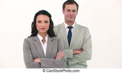 Business people wearing headset posing