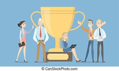 Business people winners.