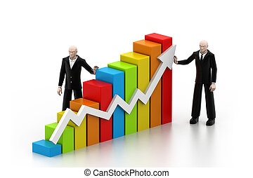 Business people with a growth graph