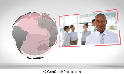 Business people with an Earth image - Animation of business...
