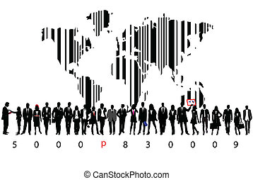 Business people with bar code map