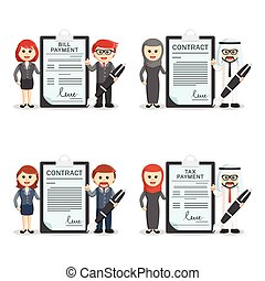 business people with document holder set