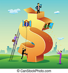 Business People with Dollar Building - illustration of...