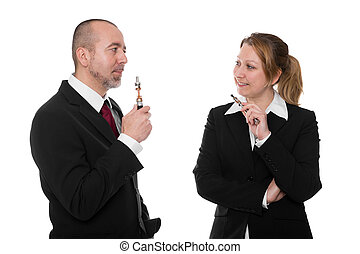 business people with electric cigarettes in front of white
