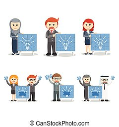 business people with idea board set