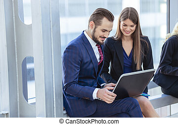 Business people with laptop