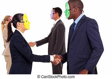 business people with mask handshake