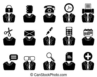 business people with office tools icons set