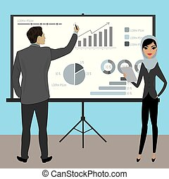 Business people with projector screen