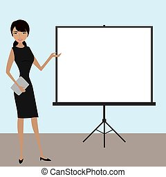 Business people with projector screen . Presentation...