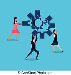 business people with puzzle pieces in shape gear
