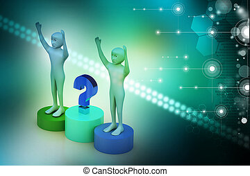 Business people with question mark