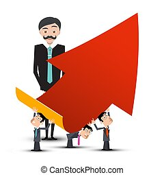 Business People with Red Arrow. Vector.