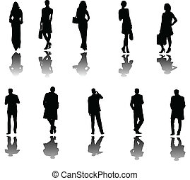 business people with shadow - illustration of business...