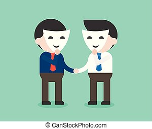 Business people with smile mask shaking hands, poker face in business concept