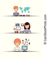 business people with social media icons