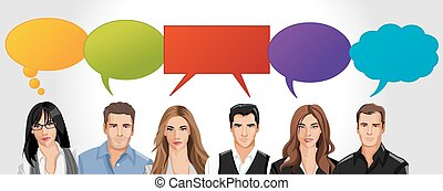 Business people with speech balloon