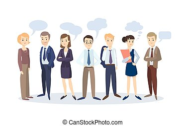 Business people with speech bubbles.